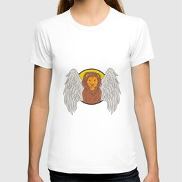 Winged Lion Head Circle Drawing T-shirt