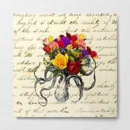 Octopus Attacking Flowers Metal Print