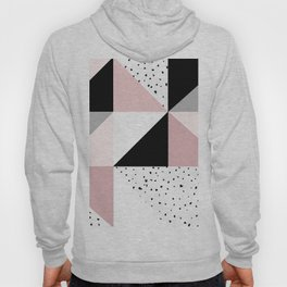 Geometrical pink black gray watercolor polka dots color block Hoody