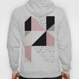 Geometrical pink black gray watercolor polka dots color block Hoody
