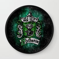 mandie manzano Wall Clocks featuring Slytherin team flag iPhone 4 4s 5 5c, ipod, ipad, pillow case, tshirt and mugs by Three Second