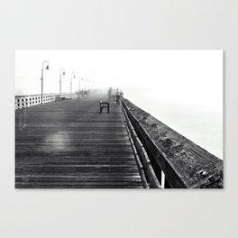 B&W Ventura pier on a foggy day Canvas Print