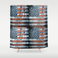 american flag Shower Curtains featuring American flag by Bekim ART