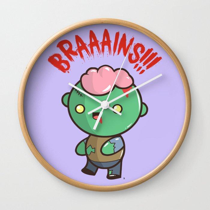 Zombie Kawaii Braaains Brains Halloween Wall Clock By Steelartstudios