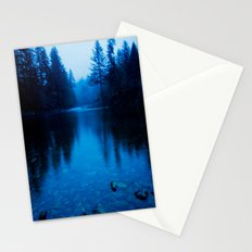 Forest Reflection Nature Lake - Blue Forest Trees Water Reflection Stationery Cards