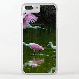 Spoonbill Cranes Clear iPhone Case
