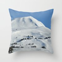 skiing Throw Pillows featuring Back-Country Skiing  - VI by Alaskan Momma Bear
