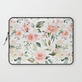 Sunny Floral Pastel Pink Watercolor Flower Pattern Laptop Sleeve