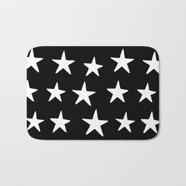 Star Pattern White On Black Bath Mat