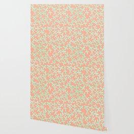 Sweet Life Firefly Peach Coral + Mint Meringue Wallpaper