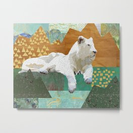Looking Forward - Snow Lion Collage Metal Print
