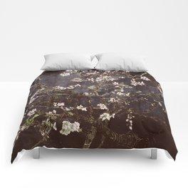 Vincent Van Gogh Almond Blossoms dark gray slate Comforters