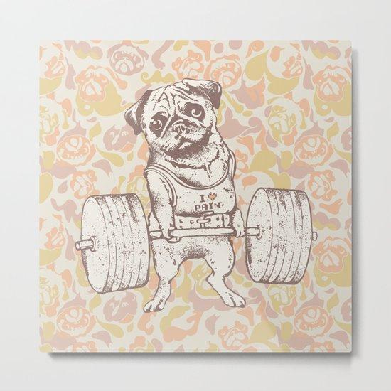 Pug Lift Camo Pink Metal Print