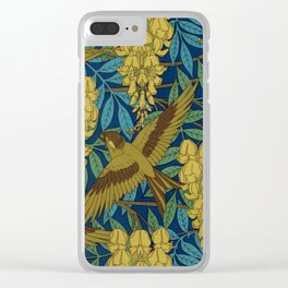 Birds and Wisteria Vintage Textile Pattern, 1897 Clear iPhone Case