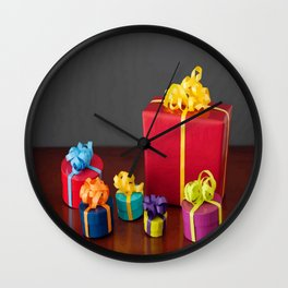 Bright Colored Christmas Gift Boxes with Paper Bows  Wall Clock