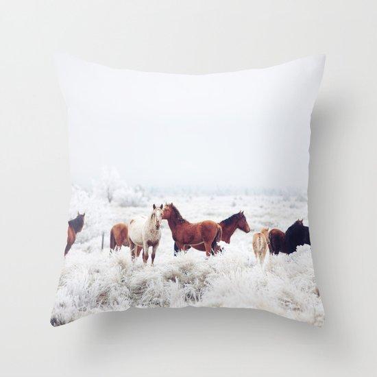Winter Horseland Throw Pillow