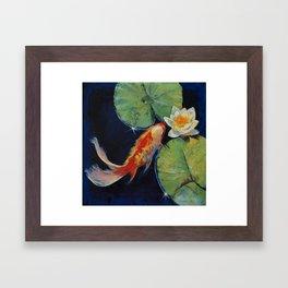 Koi and White Lily Framed Art Print