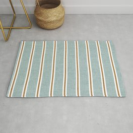 Cadence Stripes - dusty blue and rust Rug