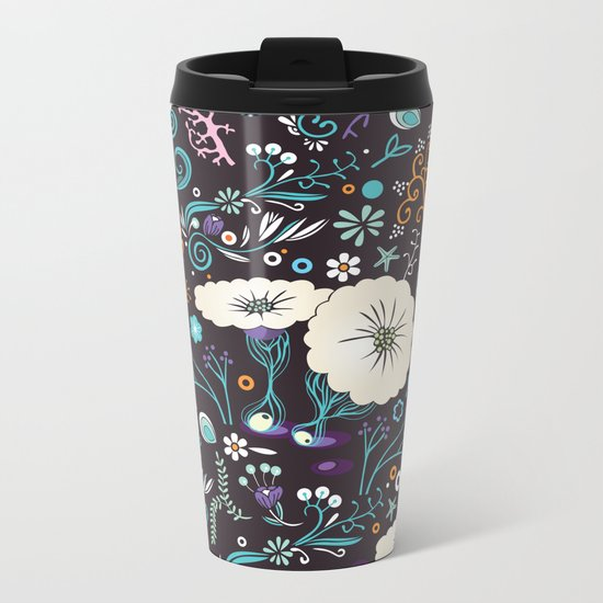 Subsea floral pattern Metal Travel Mug