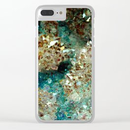 SPARKLING GOLD AND TURQUOISE CRYSTAL Clear iPhone Case
