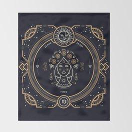 Virgo Zodiac Gold White on Black Background Throw Blanket