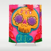 leah flores Shower Curtains featuring Flores by Zarella