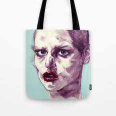 Scary Dirty Face with Red Lips Tote Bag