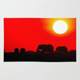Elephant evening - Africa wildlife Rug