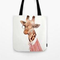 giraffe Tote Bags featuring Giraffe by Animal Crew