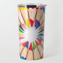 Color pencils in round pattern Travel Mug