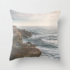 Ocean (Rocks Within the Misty Blue) Throw Pillow