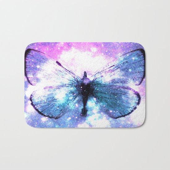 Celestial Butterfly Pink Lavender Aqua Bath Mat