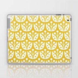 Mid Century Modern Flower Pattern Mustard Yellow Laptop & iPad Skin