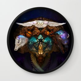 Calling The Spirit Animals Wall Clock