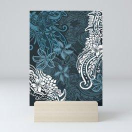 Polynesian Distressed Tribal Layered Print Mini Art Print