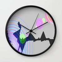 plain Wall Clocks featuring Distant Plain by Lior Blum