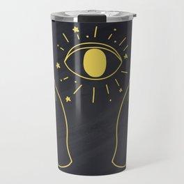Hands Holding Magic Eye, Boho Style Travel Mug