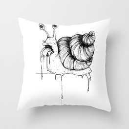 The drooling snail Throw Pillow