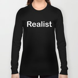 Realist - Cynical T Shirt Word Art Font in White Long Sleeve T-shirt