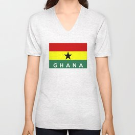 ghana country flag name text Unisex V-Neck