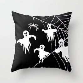 White Ghosts spider web Black background Throw Pillow