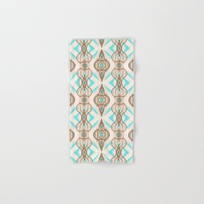 Art Deco Turquoise Brown White Hand
