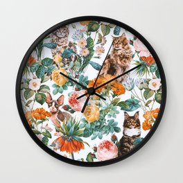 Cat and Floral Pattern III Wall Clock