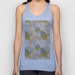 Abstract geometric polygon in gray, beige, green tones. Unisex Tank Top