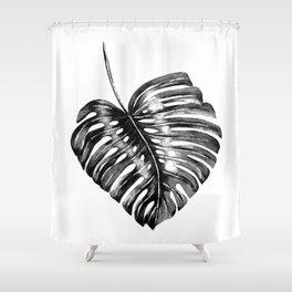 Monstera leaf black watercolor illustration Shower Curtain