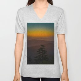 Pretty Pastel Yellow Red Green Sunset With Lone Pine Tree Silhouette Unisex V-Neck