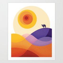 Sun, Desert, Waves of Sand and Camel Art Print