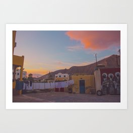 A Backyard in Santorini Art Print