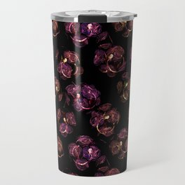 Abstract floral purple and black pattern. Travel Mug