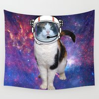 space cat Wall Tapestries featuring Space cat by S.Levis